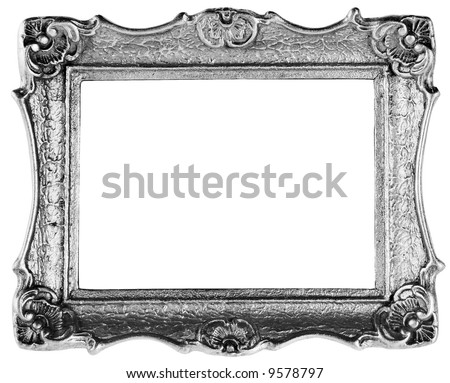 silver frame antique over white with clipping path - stock photo