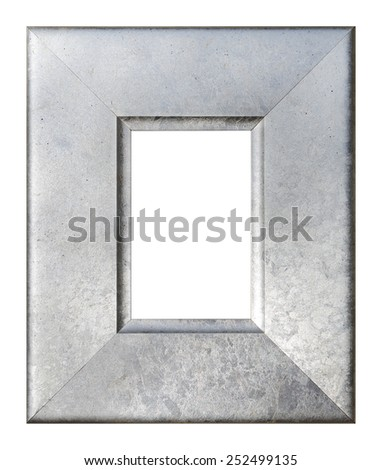 Silver frame  isolated on the white background - stock photo