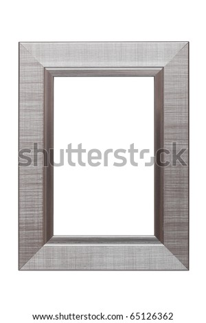 Silver frame isolated on white background - stock photo