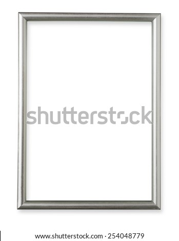 Silver frame isolated on white background with clipping path - stock photo