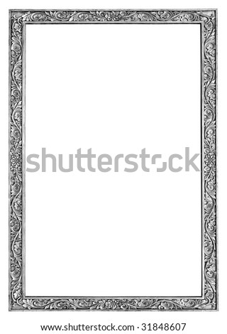 silver frame isolated with clipping path - stock photo