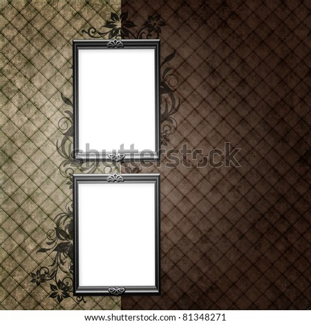 Silver frame over vintage striped wallpaper and floral elements - stock photo
