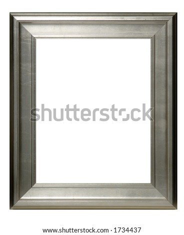 Silver Frame with clipping path - stock photo