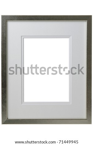 Silver frame with passepartout isolated on white background. Clipping path included - stock photo