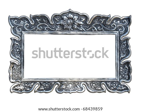 Silver frames in a Thai temple. Metal relief work pattern, Wat Muen Saen Chiang Mai Thailand - stock photo