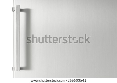 Silver fridge door with handle with free space for text