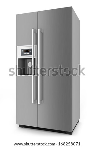 Silver fridge with side-by-side door system isolated on white background. - stock photo