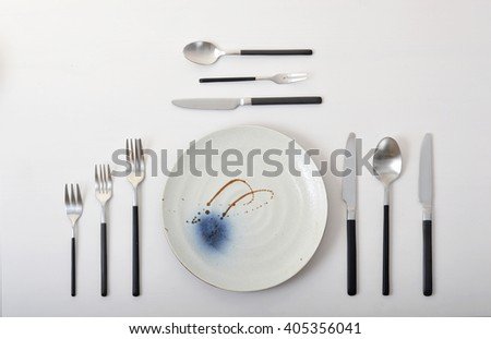 Silver full set of stainless steel knife and fork spoon