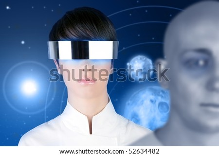silver futuristic glasses android woman portrait space planets blue background [Photo Illustration] - stock photo