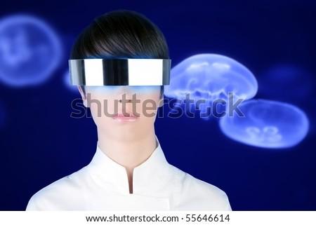 silver futuristic glasses woman blue underwater moon jellyfish background [Photo Illustration] - stock photo