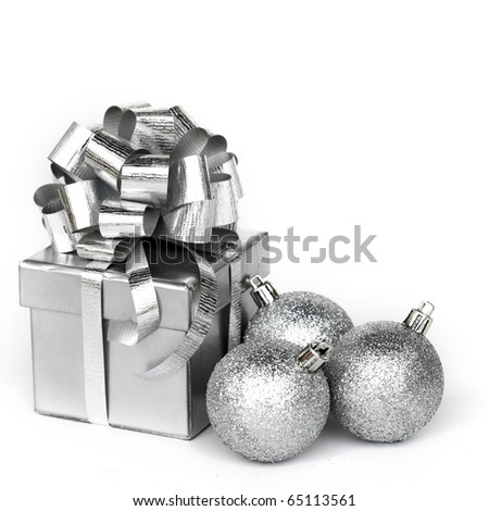 silver gift - stock photo