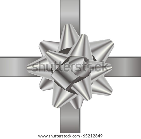 Silver gift bow - stock photo