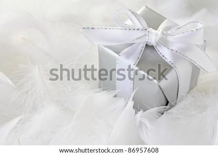 Silver gift box - stock photo