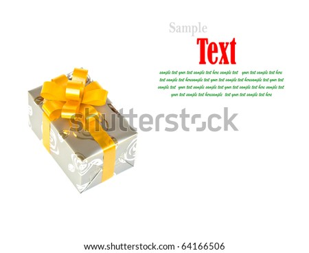 Silver gift box decorated with yellow ribbon isolated on white background. - stock photo