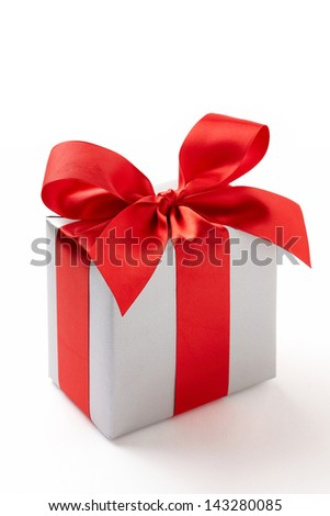 silver gift box on white background.  silver Gift box with red ribbon.   - stock photo