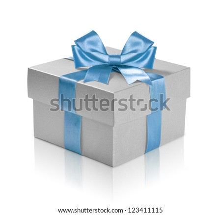 Silver gift box with blue ribbon over white background. Clipping path included. - stock photo