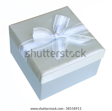 Silver gift box with bow - stock photo