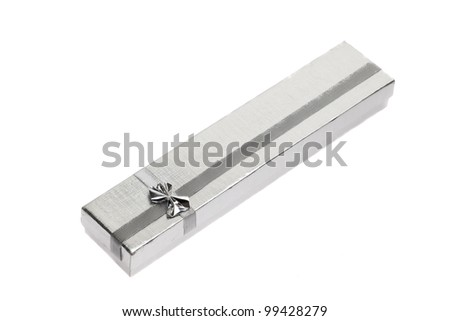silver gift box with bow isolated - stock photo