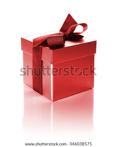 silver gift box with ribbon isolated on white