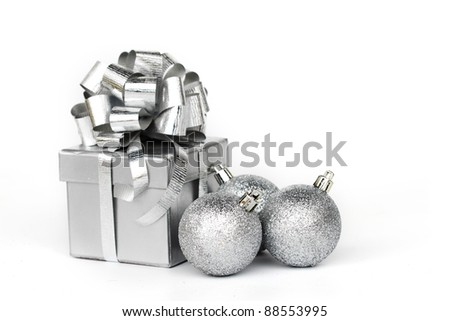 silver gift isolated on white - stock photo