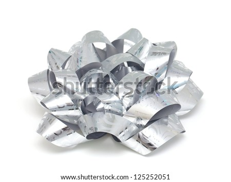 silver gift ribbons isolated on white background - stock photo