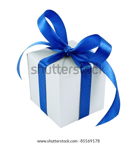 Silver gift wrapped present with blue satin bow isolated on white