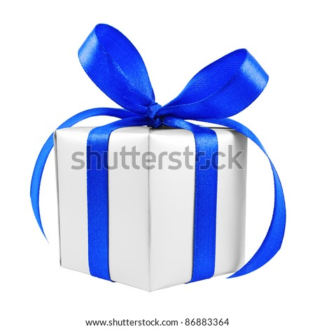 Silver gift wrapped present with blue satin bow isolated on white - stock photo
