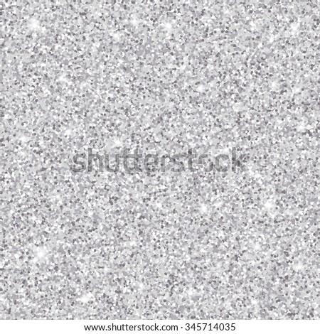 Silver glitter seamless pattern, textured background - stock photo