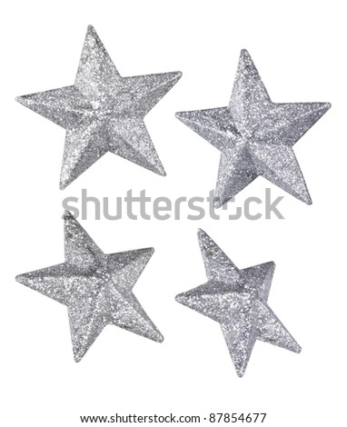 Silver Glitter Stars isolated on white - stock photo