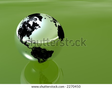 silver globe in green background - stock photo