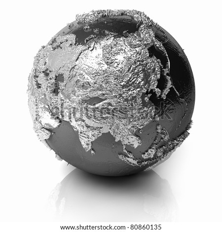 Silver globe - metal earth with realistic topography - asia, 3d render