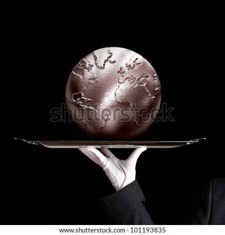 silver globe on dinner tray - stock photo