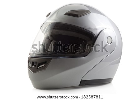 Silver glossy bike helmet isolated - stock photo