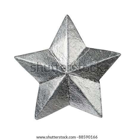 silver glossy christmas star ornament isolated on white - stock photo