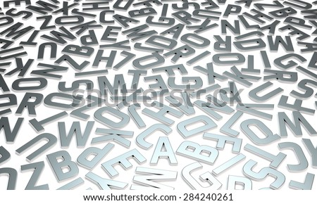 Silver glossy letters on white background typography relief image - stock photo