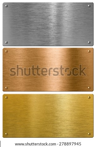 silver, gold and bronze metal high quality plates set - stock photo
