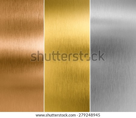 silver, gold and bronze metal texture backgrounds - stock photo