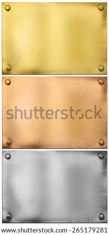 silver, gold, bronze metal plates with rivets set isolated - stock photo