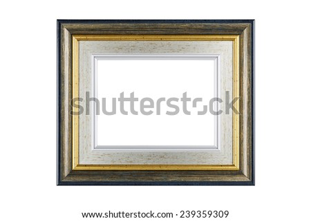 Silver-gold frame isolated on white background with clipping path. - stock photo