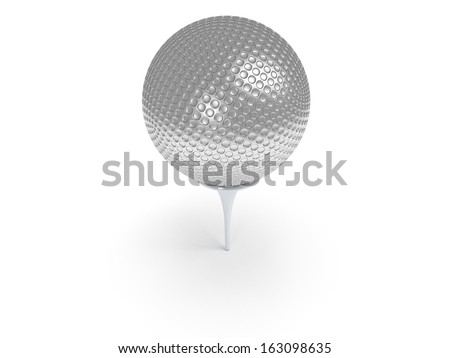 Silver golf ball on tee isolated on white. 3d render. Sport, VIP concept. - stock photo