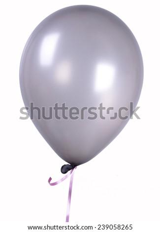 Silver gray Single balloon - stock photo