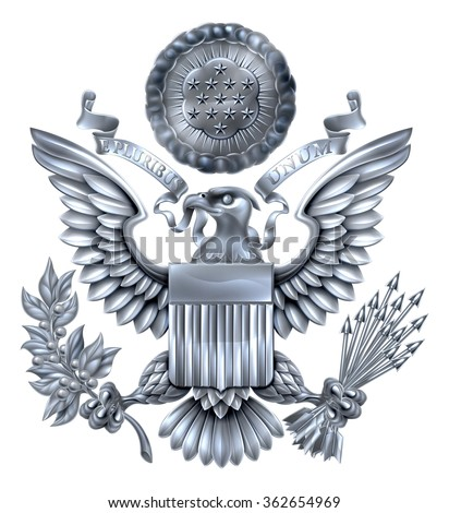 Silver Great Seal of the United States American eagle design with bald eagle holding an olive branch and arrows with American flag shield. With E pluribus unum scroll  and stars glory over his head. - stock photo
