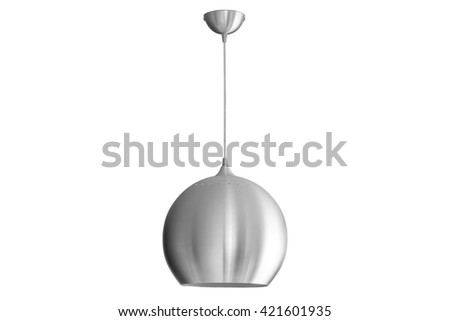 silver hanging lamp isolated - stock photo