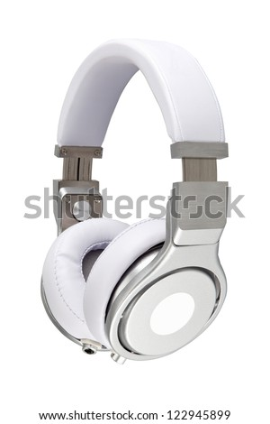 Silver headphones on white background - stock photo