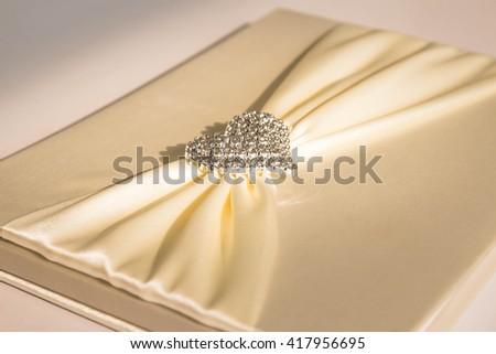 Silver heart in wedding,Love concept - stock photo