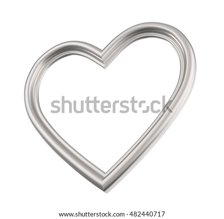 Silver Heart Picture Frame Isolated On Stock Illustration 482440717 ...