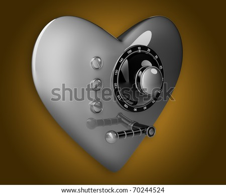 Silver heart safe isolated on orange background. 3D render