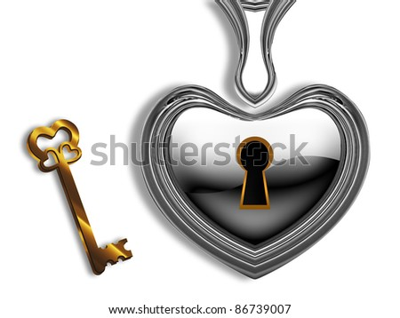 silver heart with a keyhole and a gold key on a white background - stock photo