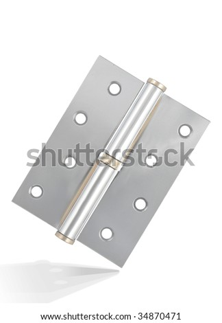 Silver hinge with metal texture,isolated on white with clipping path.