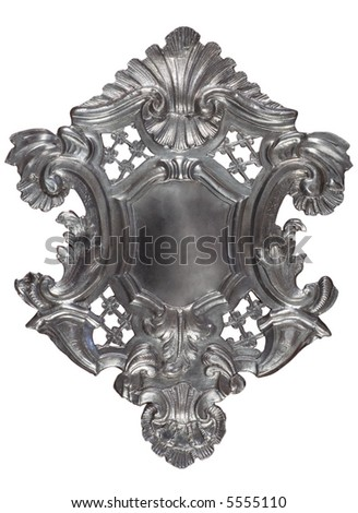 Silver historic heraldic shield with ornaments and blank field in the center. - stock photo